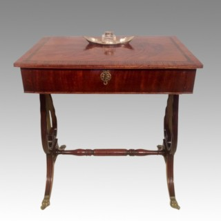 Georgian mahogany lyre ended writing table.