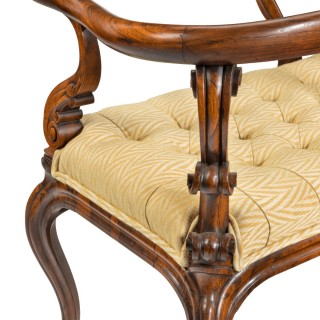 A most unusual Victorian solid rosewood love seat