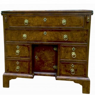 Antique Burr Elm Kneehole Desk, circa 1730 (+ later addition)