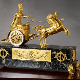 French Ormolu and Marble 'Chariot' Clock