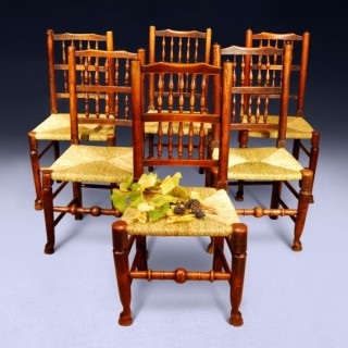 Set of 6 C.18th Oak and Ash Country Spindle back Chairs