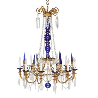 Neoclassical style gilt bronze, clear and blue cut glass chandelier