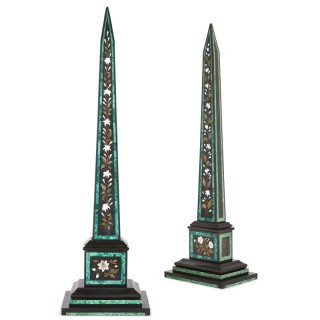 Two marble, pietra dura and malachite inlaid obelisks