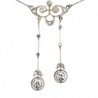 Platinum & 14 ct. Gold Art nouveau Necklace with Diamonds, from Germany approx. 1910 Jugendstil Diamonds collier