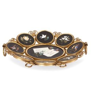 Italian Grand Tour souvenir gilt bronze pietra dura centrepiece bowl