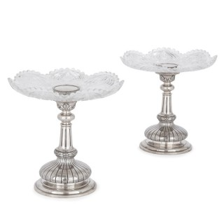 Two Russian cut glass and silver centrepiece tazze