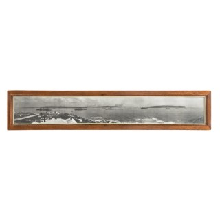 A panoramic framed photograph of the arrival of the Australian fleet in Sydney, 4th October 1913