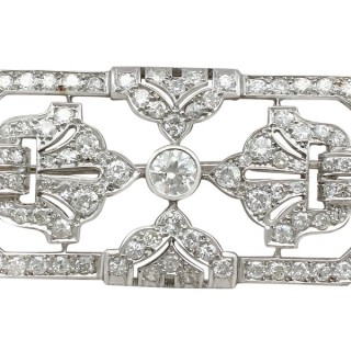 4.53ct Diamond and Platinum Brooch - Art Deco - Antique French Circa 1930