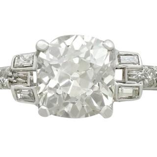 Antique 1930s 2.21ct Diamond and Platinum Solitaire Ring