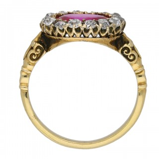 Early Victorian Burmese ruby and diamond coronet cluster ring, circa 1850.