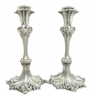 Pair of Antique Early Victorian Sterling Silver Candlesticks 1841