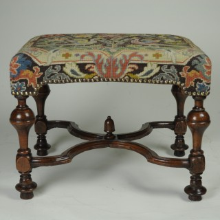 William & Mary Walnut Stool