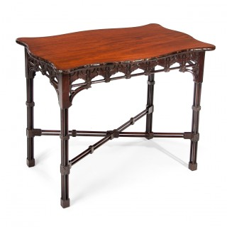 Fine Mahogany Serving Table In Chinese Chippendale Taste.