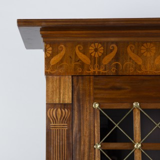 Marquetry Mahogany Bookcase with Brass Work