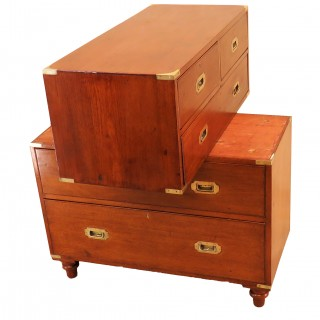 Military Camphor Wood 19th Century Campaign Chest Of Drawers