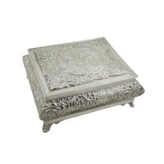 Large Antique Edwardian Sterling Silver Jewellery / Trinket Box 1901