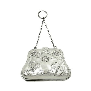 Antique Edwardian Sterling Silver 'Daisy' Purse 1905