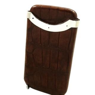 Antique Victorian Crocodile Leather & Sterling Silver Cigar Case 1896