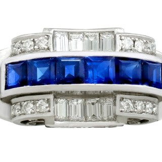 1.20ct Sapphire and 0.96ct Diamond, Platinum Dress Ring - Art Deco - Antique Circa 1935