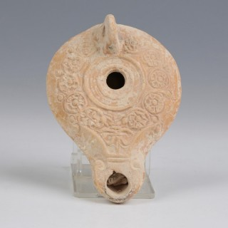 Finely Decorated Holy Land Oil Lamp