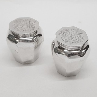 Antique 17th Century Silver Toilet Jars