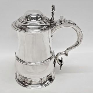 Antique George II Silver Lidded Tankard