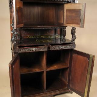 Gabriel Viardot (attributed) Aesthetic Movement Japonism Walnut Cupboard