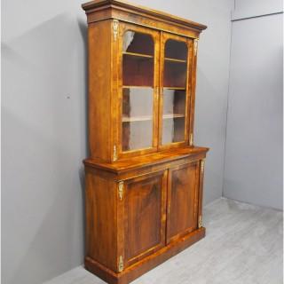 Victorian Marquetry Walnut Cabinet Bookcase