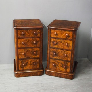 Pair of Burr Walnut Inlaid Bedside Lockers