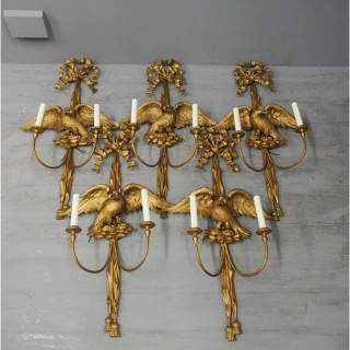 Set of 5 Carved Giltwood Bird Wall Sconces