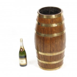 Antique Oval Brass Bound Barrel Umbrella Stick Stand C1810