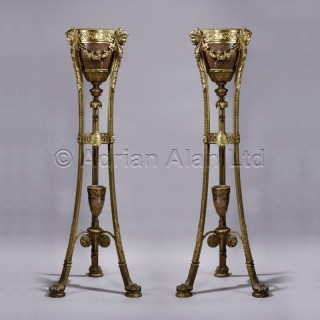 A Pair of Regence Style Rouge Griotte Marble Jardinières on Stands