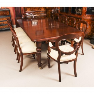 Antique 8ft Mahogany Dining Table C1860 & 10 Balloon Back Chairs