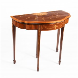 Antique Mahogany and Satinwood Inlaid Serpentine Card Console Table 19th C