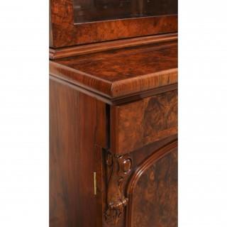 Antique Victorian Burr Walnut Breakfront Bookcase c1850 19th Century