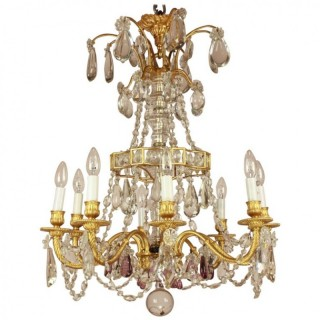 French Crystal-Cut and Gilt-Bronze Chandelier attributed to Masion Baguès