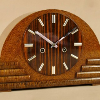 A Very Stylish Oak,  Madagascar Ebony and Palm wood Mantel Clock, circa: 1930