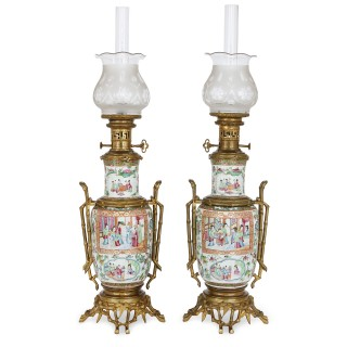 Gilt bronze mounted Chinese Canton famille rose porcelain lamps