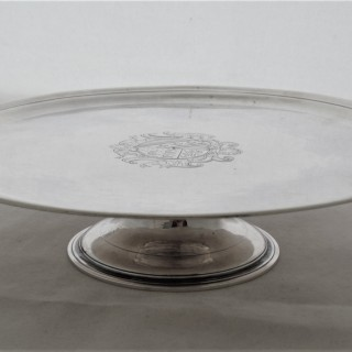 Very rare armorial George I Irish silver tazza Dublin C1720 Thomas Walker