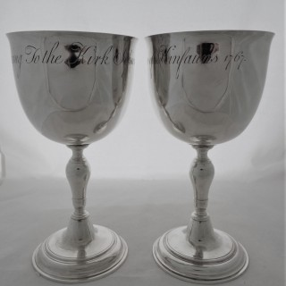 Very large pair early George III Scottish silver communion cups Edinburgh 1766 John Clark