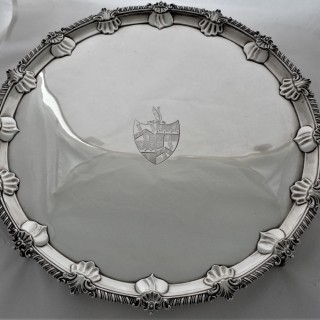 Super quality armorial George III silver tray London 1779 John Scofield