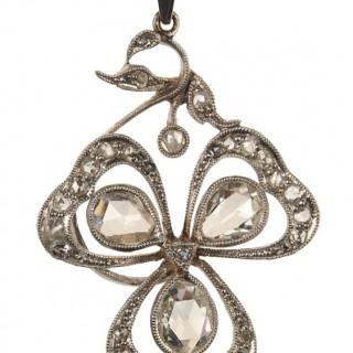 Platinum Pendant with Diamonds and Chain Edwardian England ca. 1910