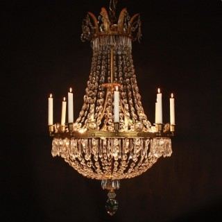 French Empire Crystal-Cut and Gilt-Bronze Tent and Bag Chandelier