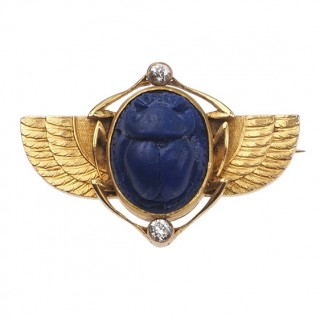 18 ct. Gold Egyptian Revival Brooch with Scarb of Lapis lazuli & 2 Diamonds, France approx. 1900 Victorian