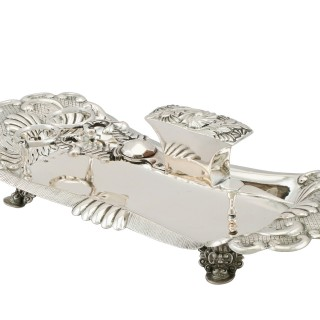 German Silver Wick Trimmers and Snuffer Tray - Antique Circa 1825