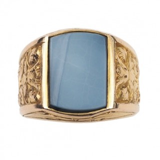 18 ct. Gold Men's ring / Signet ring with grey Agate plate, a massive Man's Gold ring, from France approx. 1900 Victorian