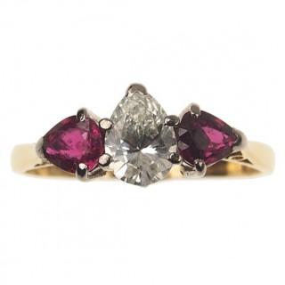 18 ct. Gold / Platinum Ring Diamond & Rubies in Drop-cut Art déco Birmingham 1923