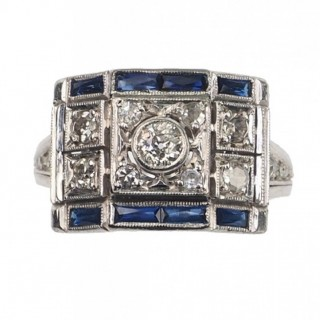 18 ct. White-gold Ring / Engagement ring with Diamonds & Sapphires, from Art déco Rio de Janeiro Brazil approx. 1940