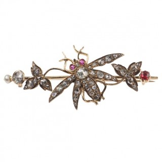 "18 ct. Gold Brooch with Diamonds, Rubies & Pearl, Animal motif jewellery ""Fly"" from Victorian England approx. 1890"