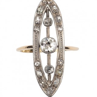 18 ct. Gold & Platinum Ring / Engagement ring from Art déco Germany approx. 1920s